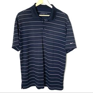 Nike golf dry fit polo navy blue w/ white stripes
